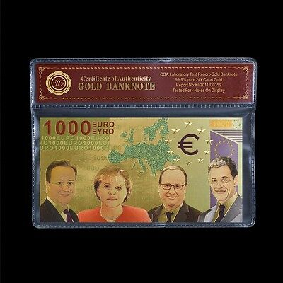 WR Colored €1000 Euro 24K Gold Banknote World Paper Money Holiday Gifts Collect