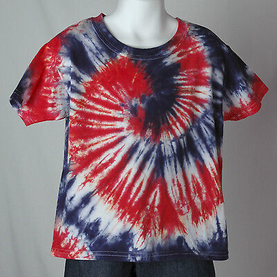 Toddler RED WHITE and BLUE swirl tie dye t-shirt T2 T3 T4 T5 NOW T6 100% Cotton
