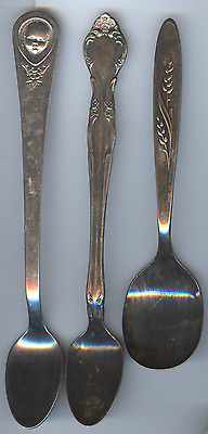 3 Different Silverplated Baby Feeding Spoons