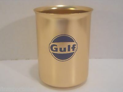 Vintage 1960's GULF OIL Advertising Aluminum Cup ~ Gas Oil NOS Very Rare