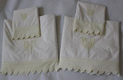 2 ANTIQUE COTTON BED SHEETS EMBROIDERED MONOGRAM & 2 MATCHING P/CASES ivory