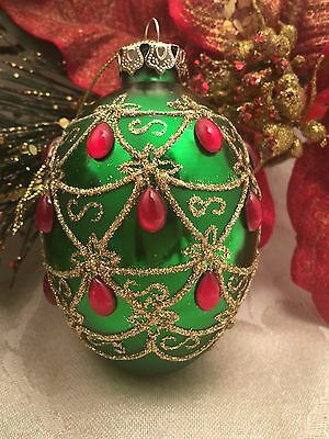 """Faberge Egg Style Christmas Ornament Glass Green Red Jeweled Glitter 3 1/2"""""""