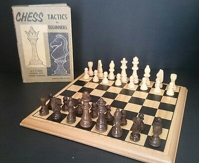 Wooden Chess Set and Chess Tactics for Beginners 1960 Illustrated