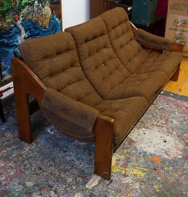 Vintage Mid Century Modern Tufted SOFA 70s Lafer Style Sling Couch Brown