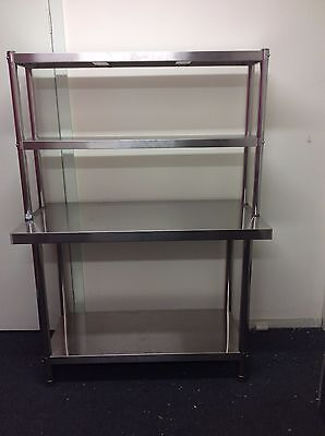 Brand New Stainless Steel Bench with Overshelving 1200x600x900x300x780 mm