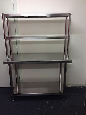 Brand New Stainless Steel Bench with Overshelving 1500x600x900x300x780 mm