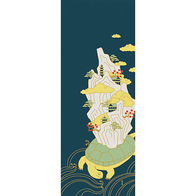 Japanese traditional towel TENUGUI COTTON Clouds and turtles (HA)