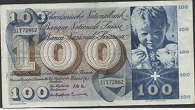 Switzerland , 100 Franken , 21.12.1961 , P 49d , Series 31T