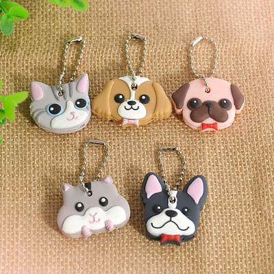 Cute Pug/Cat Shaped Silicone Key Ring Cap Head Cover Chain Ring Cartoon Kid Gift