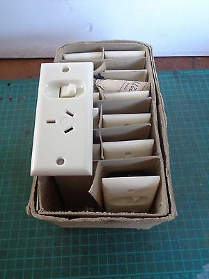 Vintage electrical fittings, boxful NOS, white switch plugs