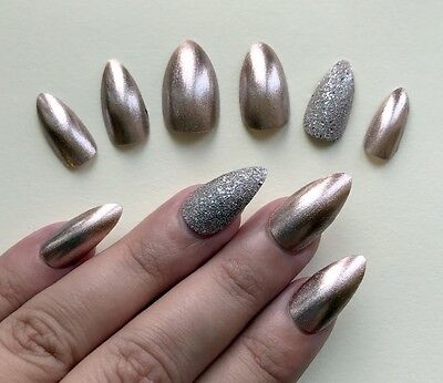 Hand Painted False Nails Stiletto (Or Any Shape) Pink Ice - Rose Gold & Bronze