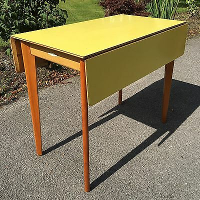 Vintage Retro Yellow Formica Drop Leaf Dining Table