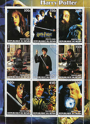 Benin 2003 CTO Harry Potter Hagrid Dumbledore 9v M/S Movies Cinema Stamps