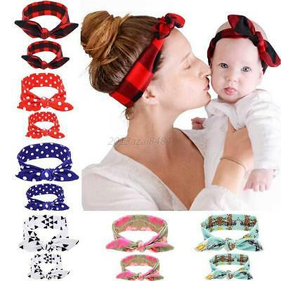2PCS Mom Mother & Daughter Kids Baby Girl Bow Headband Hair Band Accessories UK