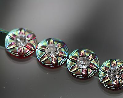 / Beautiful Flower buttons with Rhinestone trim - probably to 1960/70