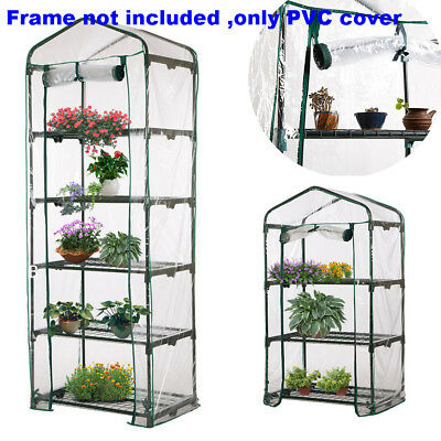 Garden Greenhouse 3/4/5 Tiers Green Hot Plant House Shed Storage PVC Cover Apex