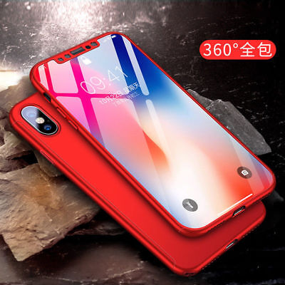360° Full Body Hard Ultra thin Cover + Tempered Glass Screen iPhone 8/X 7 6 Plus