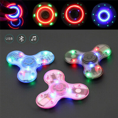 LED Bluetooth Speaker Music Fidget Hand Spinner Finger Toy Decompress Gyro Gift