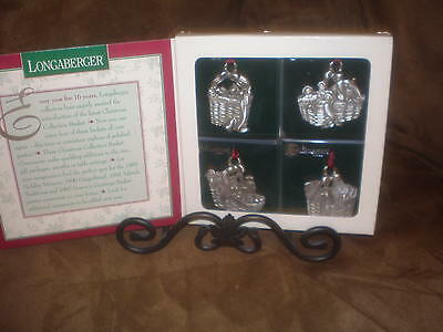 Longaberger 1996 Pewter Christmas Basket Ornaments -  NIB