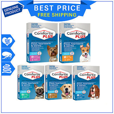 COMFORTIS PLUS for Dogs 3 Chews All Sizes Flea Heartworm Worm treatment for dogs