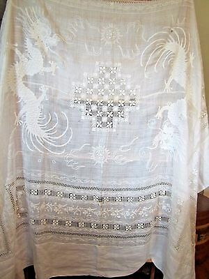 Antique Vintage Embroidered White Rice Linen Dragon & Nanduti Lace Tablecloth