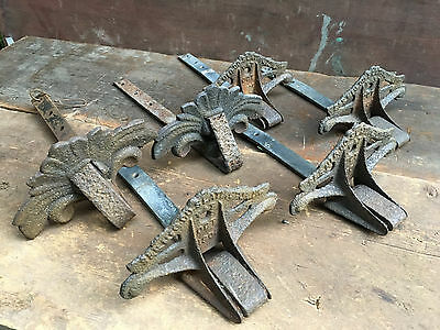 Lot of 6 Antique Snow Birds Guards Cast Iron Vintage Roofing Architectural PAT
