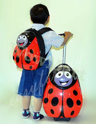 New Deluxe Kid Wheeled Rolling 17'' Suitcase Luggage & 13'' Backpacker Ladybird