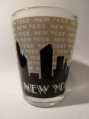 New York Grey Skiis Skyline Shot Glass Shotglass