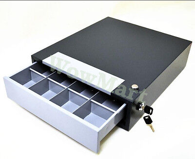 Manual Lockable Steel 4-Compartment Cash Register Box Cash Drawer (#POS35) Grey