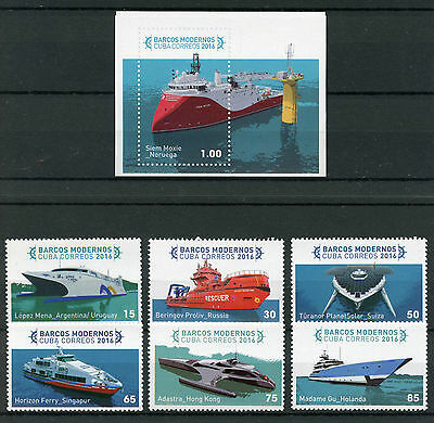 Cvba 2016 MNH Modern Ships 6v Set + 1v Imperf M/S Boats Nautical Stamps