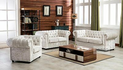 Crushed Velvet Fabric Chesterfield Sofas 1 2 3 Seater  Sofa Seat Armchair Silver
