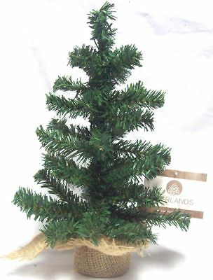 Small Table Top Centerpiece Artificial Christmas Tree With Hessian Base - 35CM