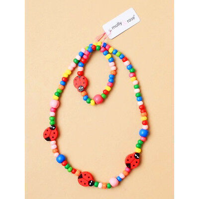 Childrens Elasticated Necklace and Bracelet Jewellery Set Multicolour Wood Beads