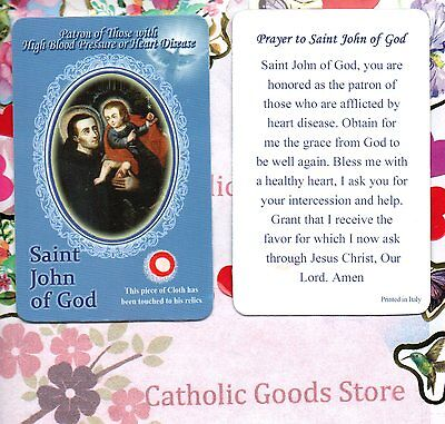 Saint St John of God with Prayer  - Relic Paperstock Holy Card