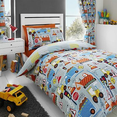 HLC Big Digger Trucks Tractor JCB Boys Grey Blue Duvet Cover Bedding Curtains