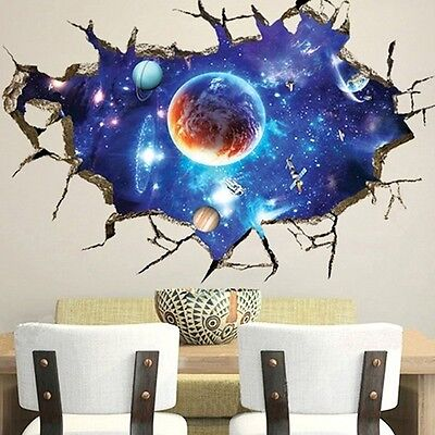 3D Outer Space Wall Stickers Home Decor Mural Art Removable Galaxy Wall Decal