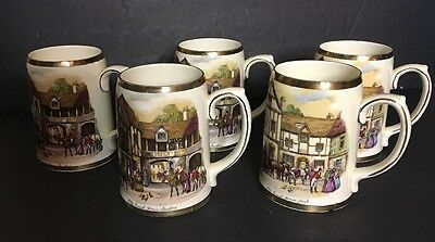 Vintage Old Coach House Stratford And York Tankards Mugs Set Of 5 Staffordshire