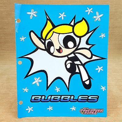 The PowerPuff Girls Bubbles 2 Pocket File Folder Die-Cut Pockets Blue 2001
