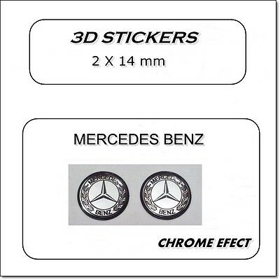 2x 3D STICKERS MERCEDES BENZ  SILVER CHROME EFFECT 14mm