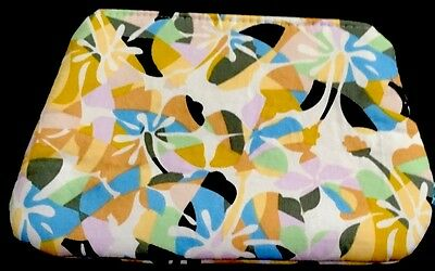 Handmade Lawn Cotton Pouch/Makeup Bag . Multi . Water Resistant Lining.