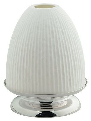 Ercuis Hurricane Lamp Upsilon Silver Plate Base with Porcelain Lamp Shade