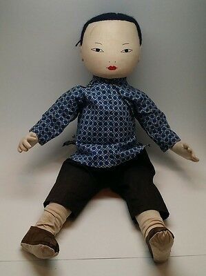 "Vintage Chinese Cloth Girl Doll 18""-20"" Original Clothing"