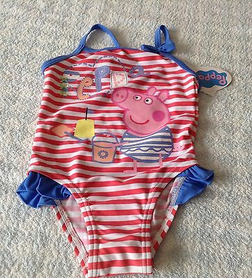 baby girls Peppa Pig seaside swimsuit frilly stripe pink blue 9-12/12-18 NEW TAG