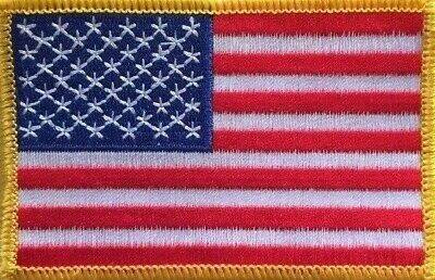 AMERICAN FLAG EMBROIDERED PATCH iron-on GOLD  BORDER US UNITED STATES SHOULDER