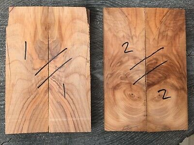 English yew bookmatched knife scale / knife handle set