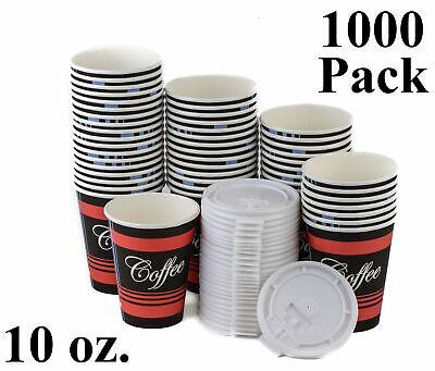 1000 Pack 10 Oz. Disposable Poly Paper Hot Tea Coffee Cups with Flat White Lids
