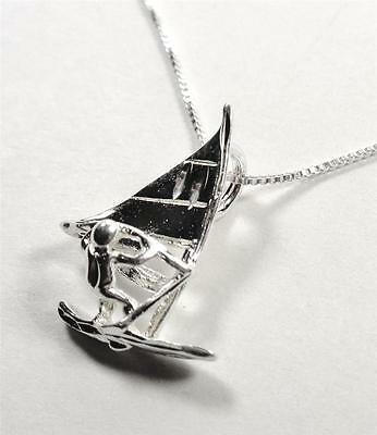 Sterling Silver Nautical Wind Surfer Wave Board Sports Sea Life Pendant Necklace