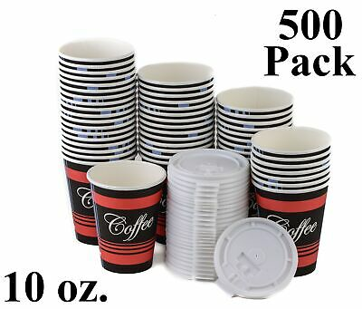 500 Pack 10 Oz. Disposable Poly Paper Hot Tea Coffee Cups with Flat White Lids