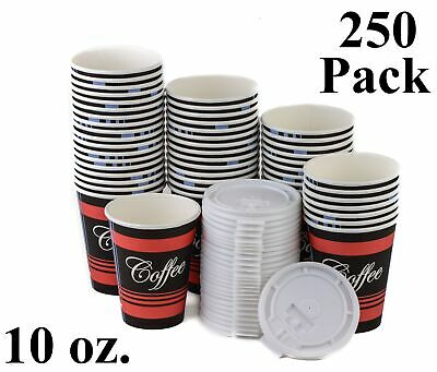 250 Pack 10 Oz. Disposable Poly Paper Hot Tea Coffee Cups with Flat White Lids