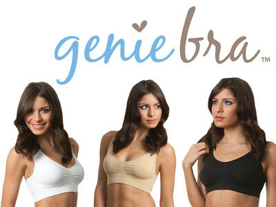 Genie Classic Bra With Removable Pads White,Beige or Black All Sizes (Pack of 3)